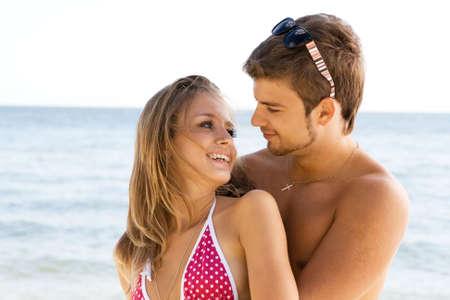 Romantic couple having fun on the seaside Stock Photo - 5482161