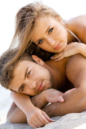 sexy lovers: Romantic couple having fun on the seaside