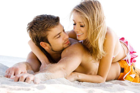 adult dating: Romantic couple having fun on the seaside