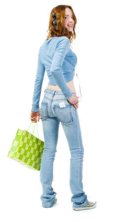Shopping girl, isolated on white background photo