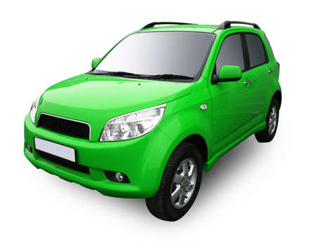 ruedas de coche: Verde coche moderna aislada sobre fondo blanco