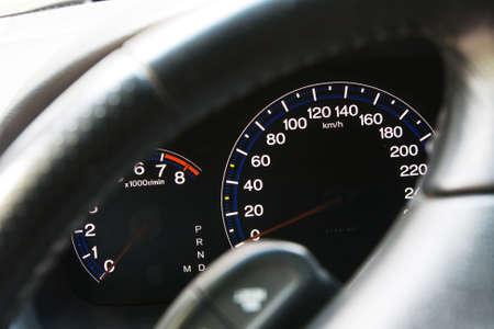 Modern car dashboard closeup view photo