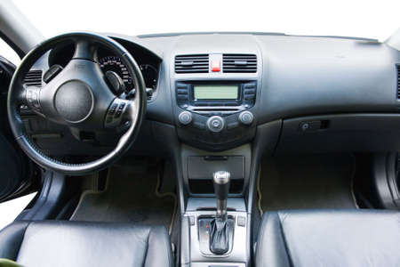 Modern car dashboard and front seats view photo
