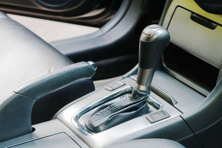 Auto gear shift handle closeup photo