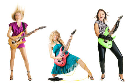 Three girls playing the guitar, isolated on white background photo