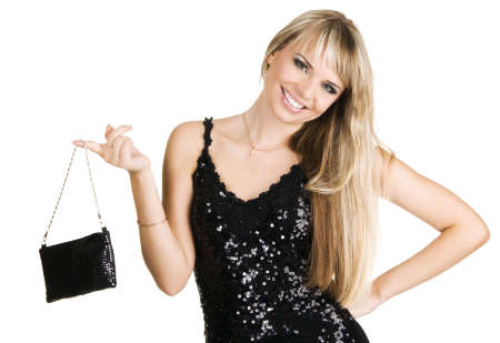 handbag model: Young beautiful woman in evening gown, isolated on white background Stock Photo