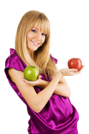 Cheerful young woman holding fresh apples, isolated on white background photo