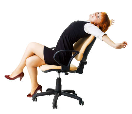 Cheerful businesswoman isolated on white background photo
