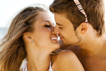 two sexy women: Romantic couple having fun on the seaside