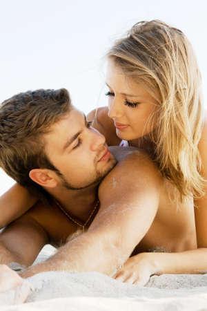 boy romantic: Romantic couple having fun on the seaside