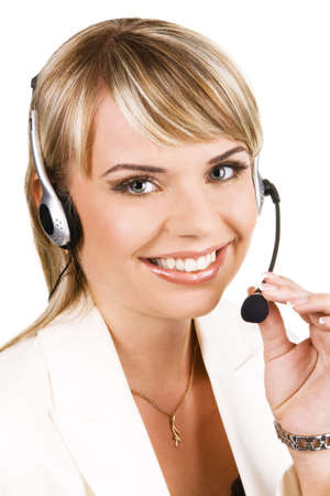 customer support: Customer service professional with a friendly smile