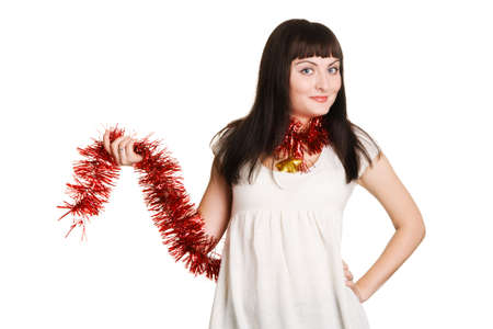 Cute Christmas girl on white background photo