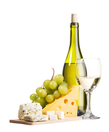 Cheese, grapes and white wine, isolated on white background photo