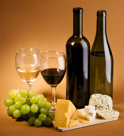 degustation: Wine and cheese still life