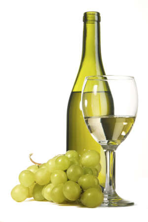 Bottle of white wine and grapes, isolated on white background photo