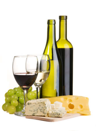 Cheese, white and red wine, isolated on white background Stock Photo