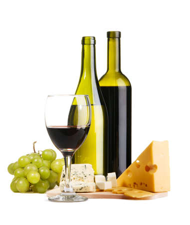Cheese, white and red wine, isolated on white background photo