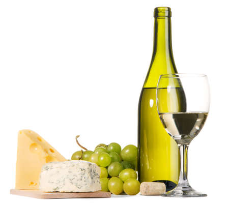 White wine and different sorts of cheese still-life Stock Photo