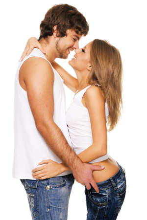 friend hug: Beautiful young couple in casual clothing Stock Photo