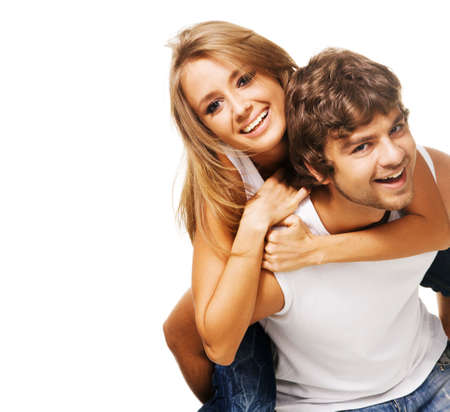 piggyback: Beautiful young couple in casual clothing Stock Photo