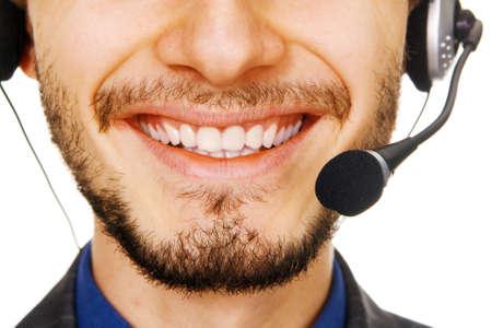 gl�cklicher kunde: Junge handsome Kunden-Service-operator