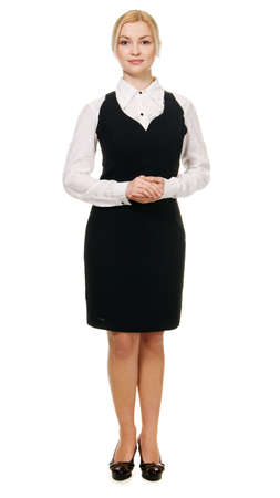 Young beautiful businesswoman full length portrait