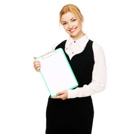 Young businesswoman with a bunch of documents, white background Stock Photo - 6522552