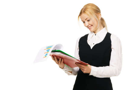 Young businesswoman with a bunch of documents, white background Stock Photo - 6522602