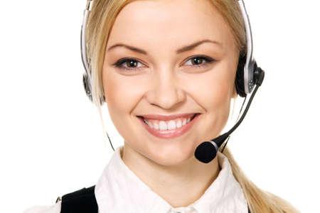Cheerful professional call center operator, white background Stock Photo - 6522598