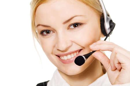 Cheerful professional call center operator, white background Stock Photo - 6522624