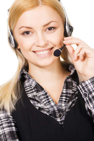 Cheerful professional call center operator, white background Stock Photo - 6522608