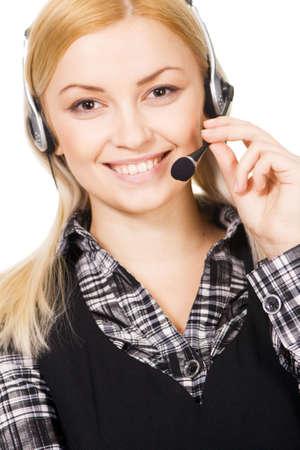 Cheerful professional call center operator, white background Stock Photo - 6522608