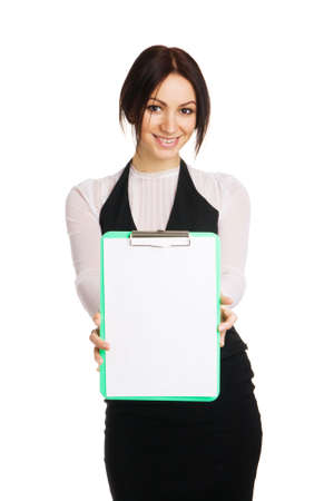 Beautiful young businesswoman with a worksheet, white background photo