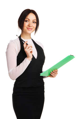 Beautiful young businesswoman with a worksheet, white background Stock Photo - 6522601