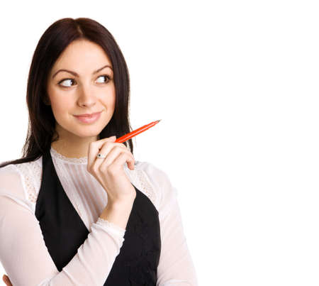 Cute businesswoman pointing aside with a marker, white background Stock Photo - 6522599