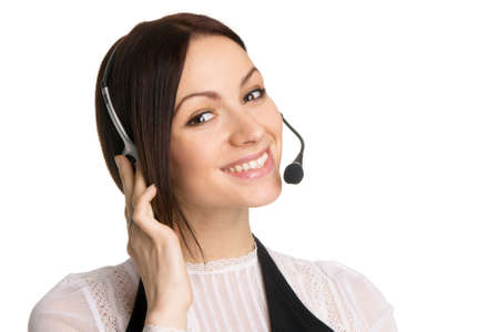 Young beautiful call center operator, white background Stock Photo - 6522642