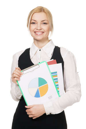Young businesswoman with a bunch of documents, white background photo