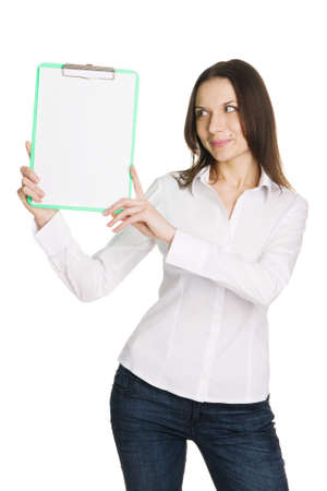 Beautiful young businesswoman with a worksheet, white background Stock Photo - 6551855