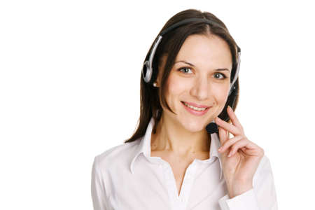 Young beautiful call center operator, white background Stock Photo - 6551862