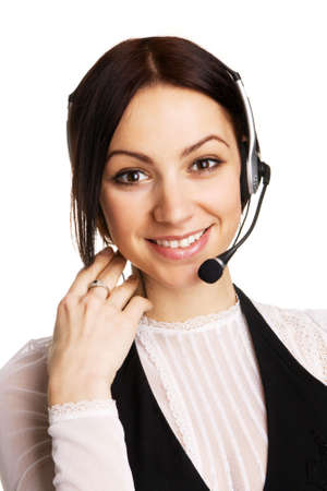 Young beautiful call center operator, white background photo