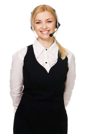 Cheerful professional call center operator, white background Stock Photo - 6603460