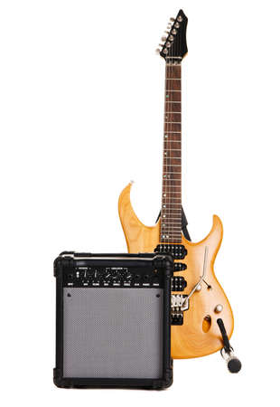 Electric guitar with amplifier, white background Stock Photo - 6631070