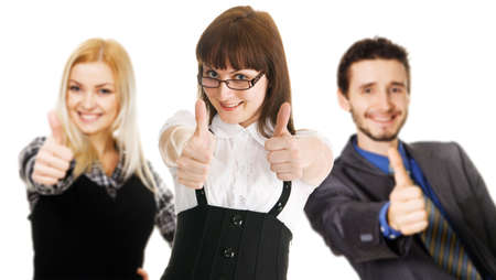 Young business people showing Thumbs Up sign, white background photo