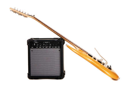 Electric guitar with amplifier, white background Stock Photo - 6724603