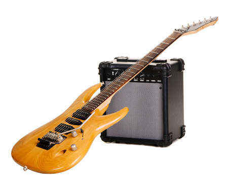 amp: Electric guitar with amplifier, white background Stock Photo