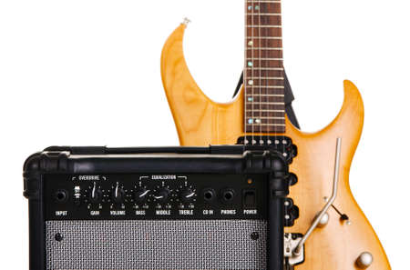Electric guitar with amplifier, white background Stock Photo - 6787307