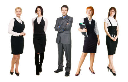 Young business people over white background photo