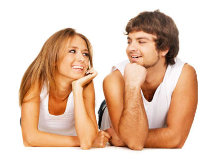 Beautiful young couple in casual clothing Stock Photo