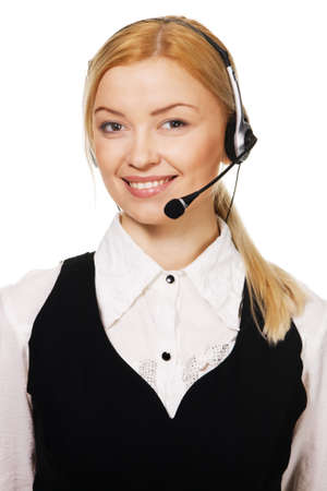 Cheerful professional call center operator, white background Stock Photo - 6787408