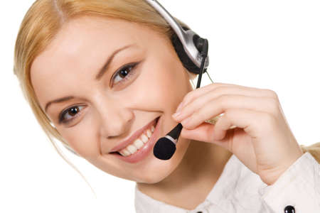 Cheerful professional call center operator, white background Stock Photo - 6787404